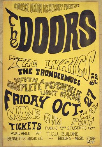 What a great early Doors poster - dance held in the Men\u0027s gym. Love the line-up: The Lyrics (very original) but how about \